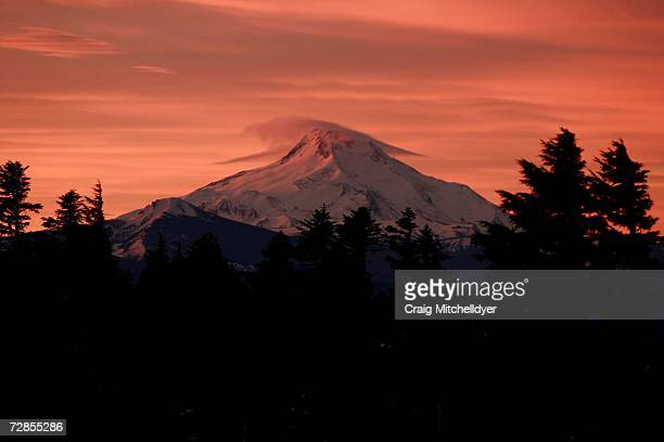 Mt Jefferson is seen at sunrise from the base of Mt Hood on December 20 2006 at Timberline Lodge Oregon