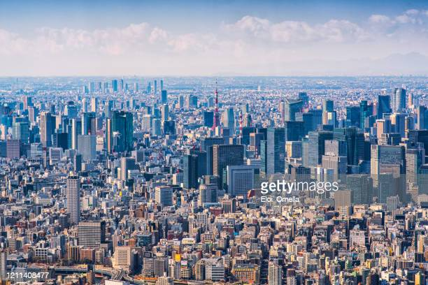 mt jufi and tokyo skyline, japan - politics and government stock pictures, royalty-free photos & images