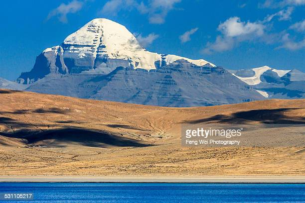 mt kailash and lake rakshastal, ngari, tibet - mt kailash stock pictures, royalty-free photos & images