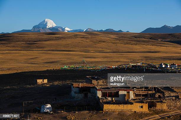 Mt. Kailash and Tibetan village in morning