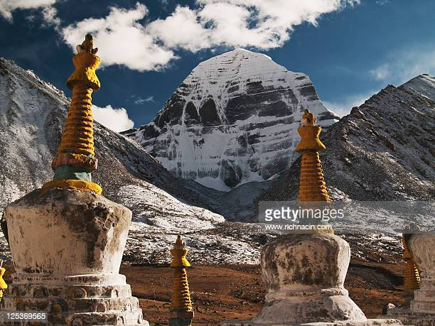 mt. kailash with chortens - mt kailash stock pictures, royalty-free photos & images