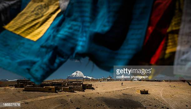 mt. kailash with flags foreground - mt kailash stock pictures, royalty-free photos & images