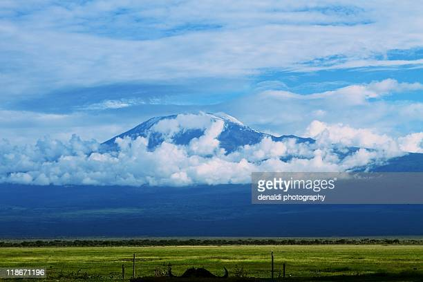 mt. kilimanjaro - amboselli - mt kilimanjaro stockfoto's en -beelden