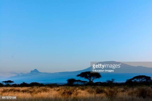 Mt Kilimanjaro and Mt Mawenzi in Tanzania on the left from Satao Elerai Conservancy Near Amboseli National Park Kenya