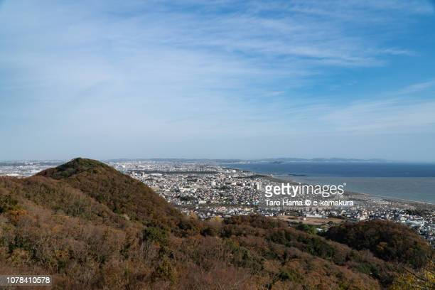 Mt. Koma in Hiratsuka city and Sagami Bay, Pacific Ocean in Kanagawa prefecture in Japan