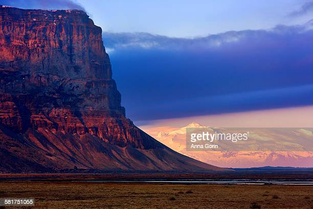 Mt Lomagnupur cliff at sunset, Iceland