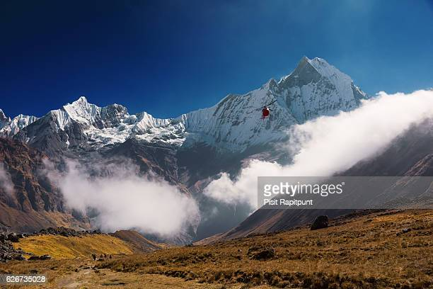 mt. machapuchare (6,993m) from annapurna base camp ,nepal. - machapuchare stock photos and pictures