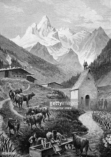 Mt maedelegabel in the allgaeu bavaria germany historical illustration circa 1893