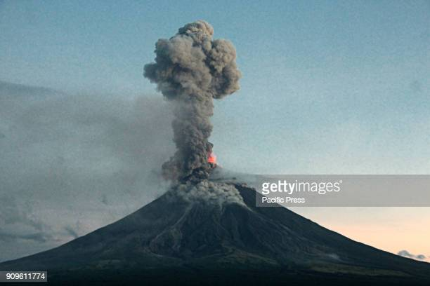 Mt Mayon volcano 2nd explosion again this morning at 730 am with volcanic ash falls and lava flow from the view of Daraga Albay Bicol on January 24...