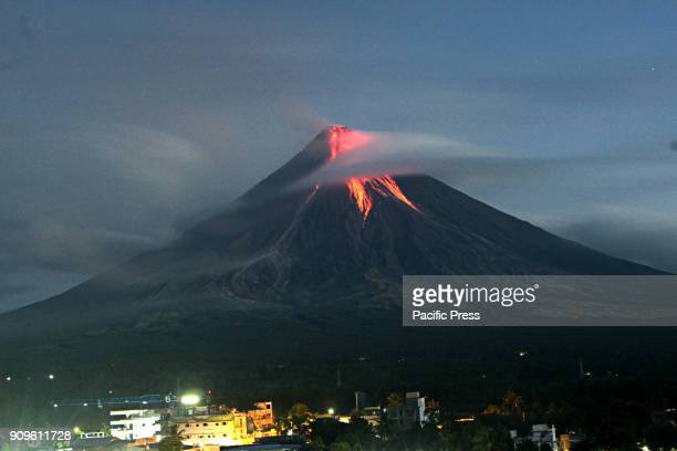 Mt Mayon volcano shows her beauty and charm this early morning with volcanic ash falls and lava flow from the view of Daraga Albay Bicol on January...