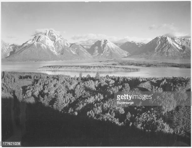 Mt Moran and Jackson Lake from Signal Hill in Grand Teton National Park Wyoming 1942