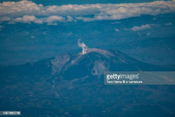 Mt. Ontake in Gifu prefecture in Japan daytime aerial view from airplane