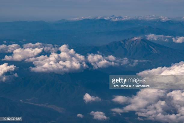 Mt. Ontake in Nagano prefecture in Japan daytime aerial view from airplane