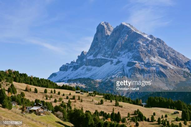 mt peitlerkofel or sas de puetia, 2875m, from the alpine pasture at schatzner hut, south tyrol, italy - {{asset.href}} stock pictures, royalty-free photos & images