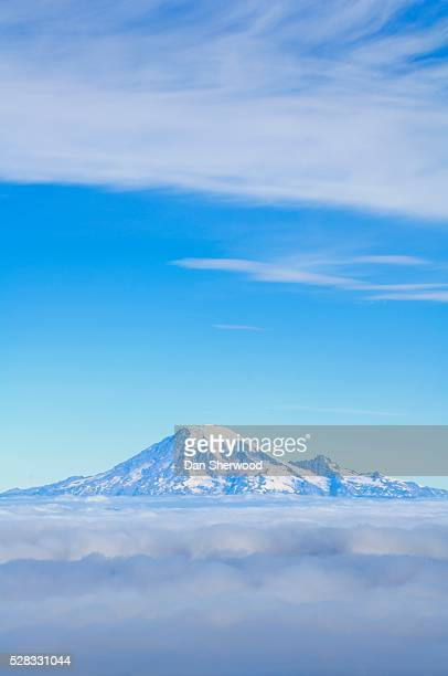 Mt. Rainier and foggy valleys from Mt. Adams, Washington State, USA