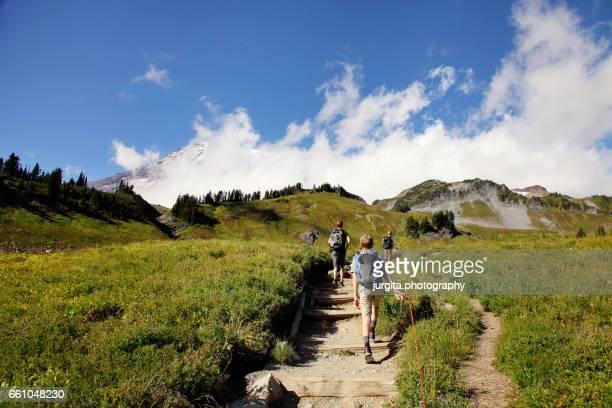 Mt. Rainier, Paradise, kids hiking