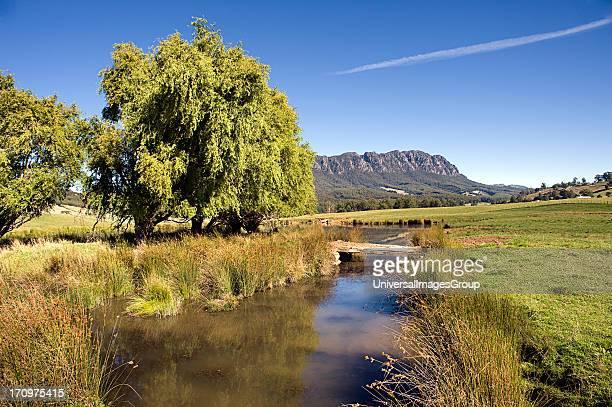 Mt Roland landscape and river near Sheffield Tasmania TAS Australia