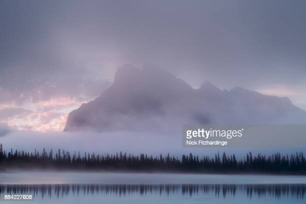 Mt Rundle from Vermillion Lakes during a foggy morning, Banff National Park, alberta, Canada