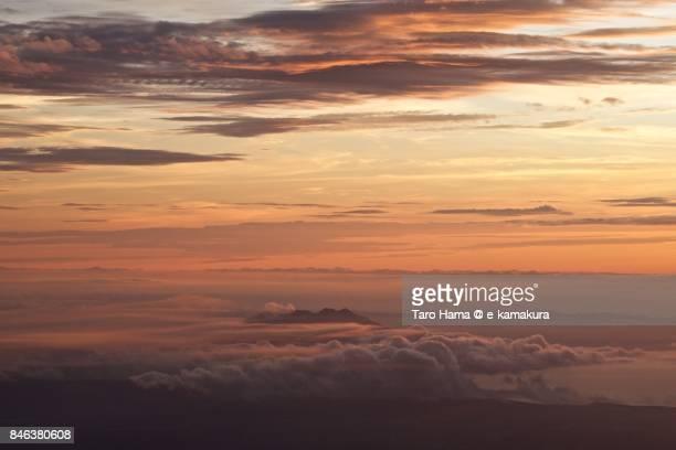 Mt. Sakurajima, active volcano in Kagoshima prefecture sunset time aerial view from airplane