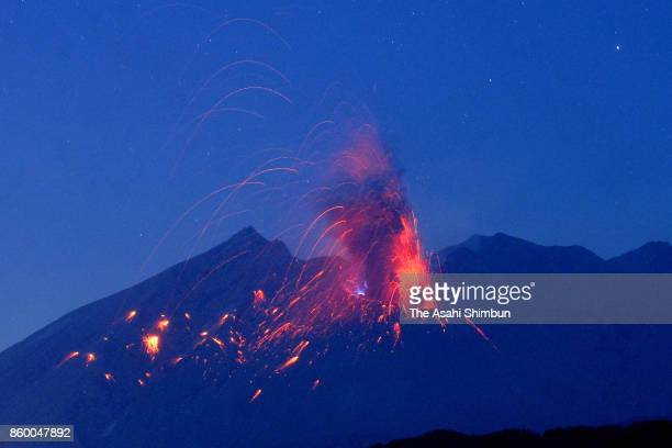 Mt Sakurajima erupts on October 10 2017 in Tarumizu Kagoshima Japan
