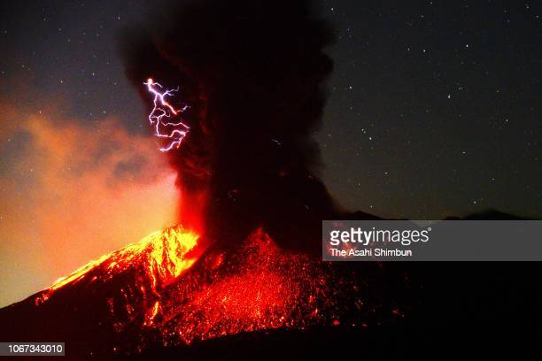 Mt Sakurajima spews out a massive column of smoke and ash on November 14 2018 in Kagoshima Japan The eruption occurred at around 1245 am at the...