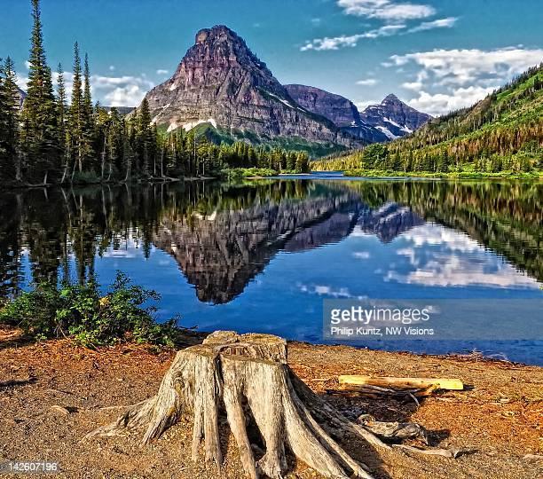 mt. sinopah reflected on pray lake - montanha sinopah - fotografias e filmes do acervo