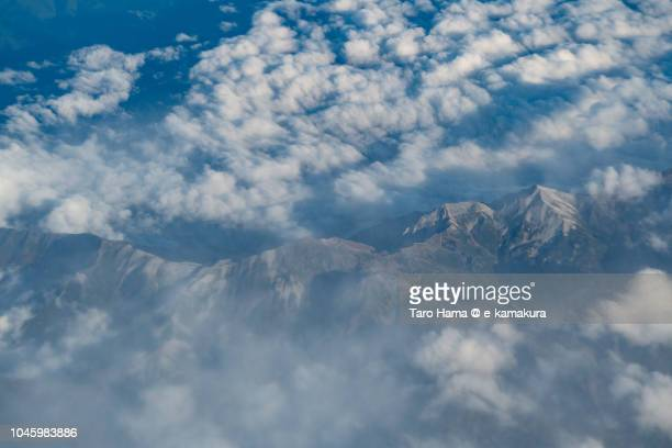 Mt. Tateyama in Japan daytime aerial view from airplane