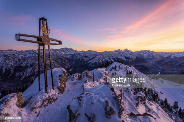 mt. teufelstättkopf and ammergau alps - dämmerung stock pictures, royalty-free photos & images