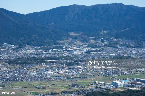 Mt. Toishi in Umi town in Fukuoka prefecture in Japan daytime aerial view from airplane