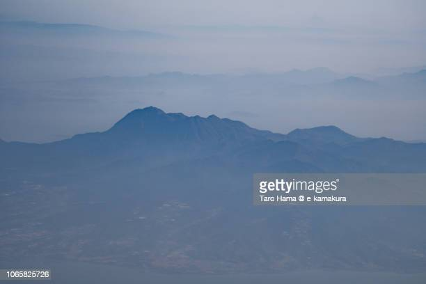 Mt. Unzen in Nagasaki prefecture in Japan daytime aerial view from airplane