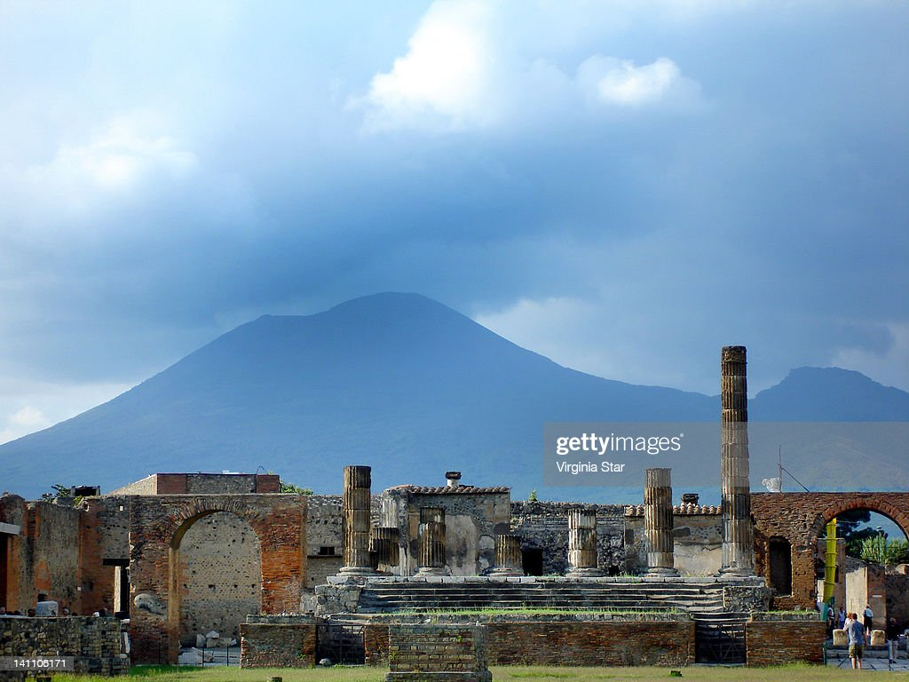 Mt Vesuvius above ruins of Pompeii in Italy : Stock Photo