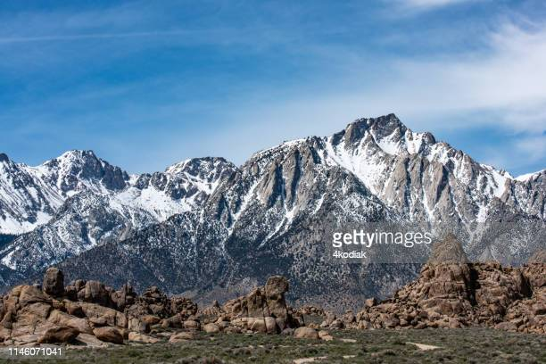 mt whitney in eastern sierra california  usa - lone pine california stock pictures, royalty-free photos & images
