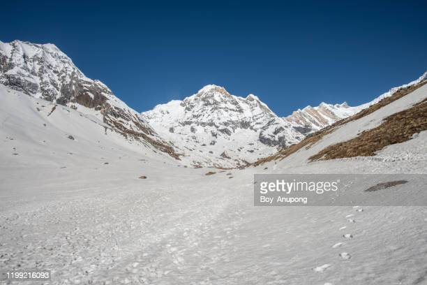 mt.annapurna south (7,219 m) a mountain in the annapurna himal range of the himalayas, nepal. landscape view after snowfall with transparency sky. - annapurna south stock pictures, royalty-free photos & images