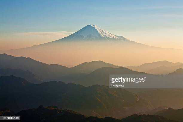 mt.fuji morning mist - shizuoka stock photos and pictures