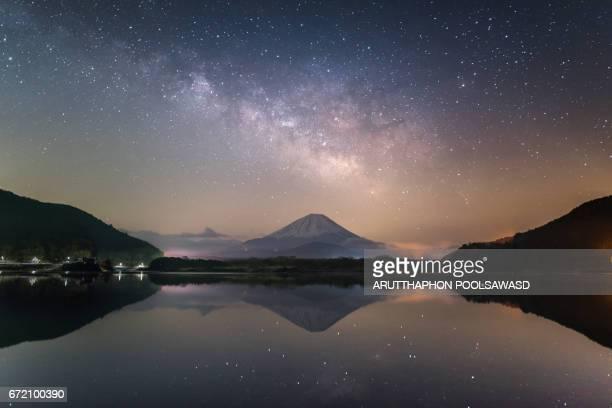 Mt.Fuji with milky way at shojiko reflection Lake , Yamanashi , Japan