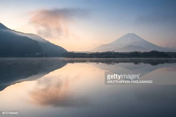Mt.Fuji with sunrise at Shoji Lake reflection