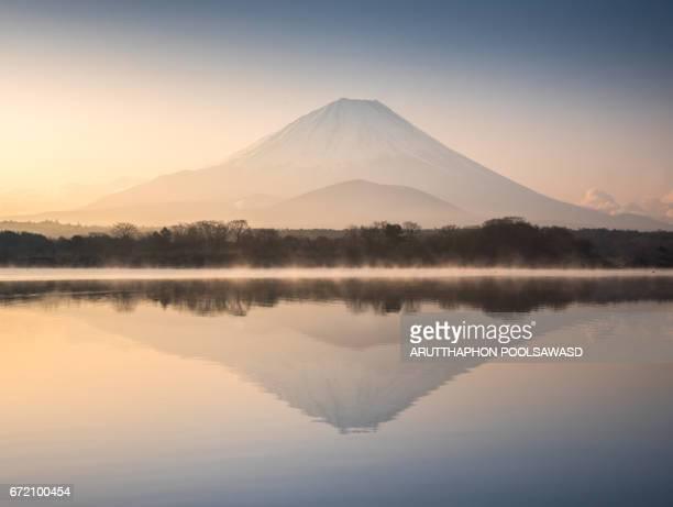 mt.fuji with sunrise at shoji lake reflection - fuji hakone izu national park stock photos and pictures
