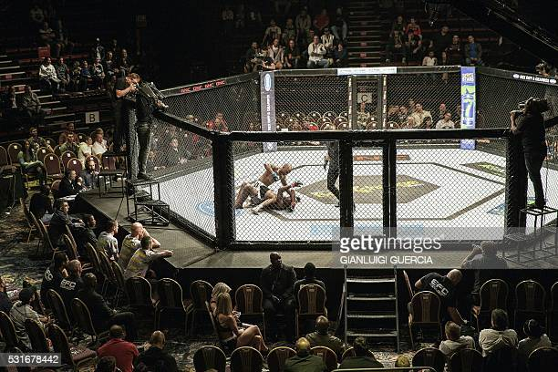 Mthobisi Buthelezi and Sifiso Ncobi fight during their Lightweight Extreme Fighting Championship match on May 13 2016 at Carnival City in Brakpan...