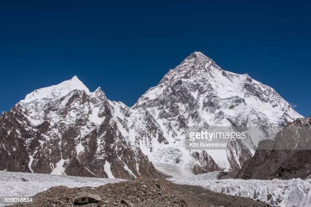mt.k2 and angel peak from the way to k2 base camp, pakistan - k2 mountain stock pictures, royalty-free photos & images