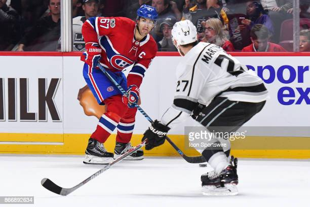 =mtl67 looks for a pass target on his right facing Los Angeles Kings defenceman Alec Martinez during the Los Angeles Kings versus the Montreal...