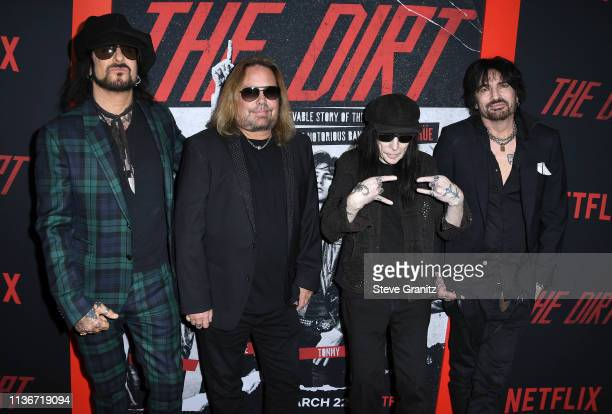 Mötley Crüe arrives at the Premiere Of Netflix's 'The Dirt' at ArcLight Hollywood on March 18 2019 in Hollywood California