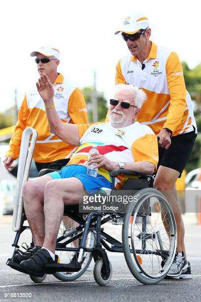 MtMartha Cricket club founder and legend Ray Peak carries the Queens Baton during the Queens Baton Commonwealth Games relay in Frankston on February...