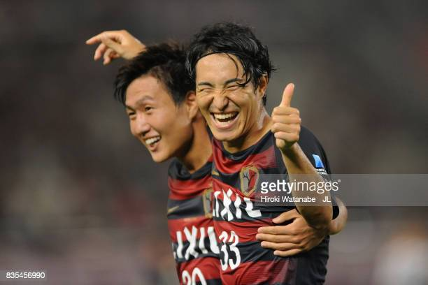 Mu Kanazaki of Kashima Antlers celebrates scoring his side's second goal with his team mate Kento Misao during the JLeague J1 match between Kashima...
