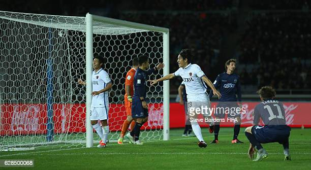 Mu Kanazaki of Kashima Antlers celebrates scoring the winning goal during the FIFA Club World Cup Play-off for Quarter Final match between Kashima...