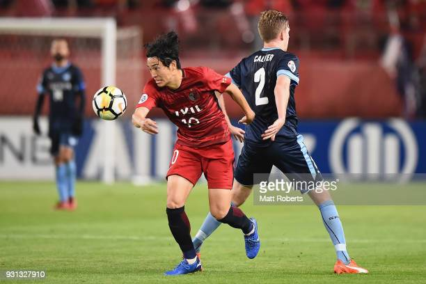 Mu Kanazaki of Kashima Antlers competes for the ball during the AFC Champions League Group H match between Kashima Antlers and Sydney FC at Kashima...