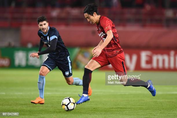 Mu Kanazaki of Kashima Antlers controls the ball during the AFC Champions League Group H match between Kashima Antlers and Sydney FC at Kashima...