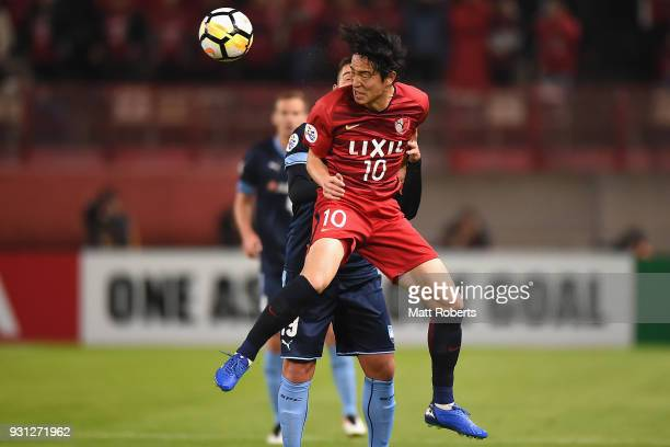 Mu Kanazaki of Kashima Antlers heads the ball during the AFC Champions League Group H match between Kashima Antlers and Sydney FC at Kashima Soccer...