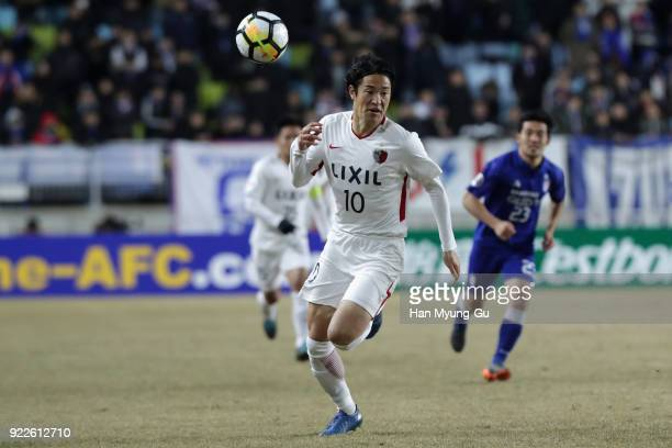 Mu Kanazaki of Kashima Antlers in action during the AFC Champions League Group H match between Suwon Samsung Bluewings and Kashima Antlers at Suwon...