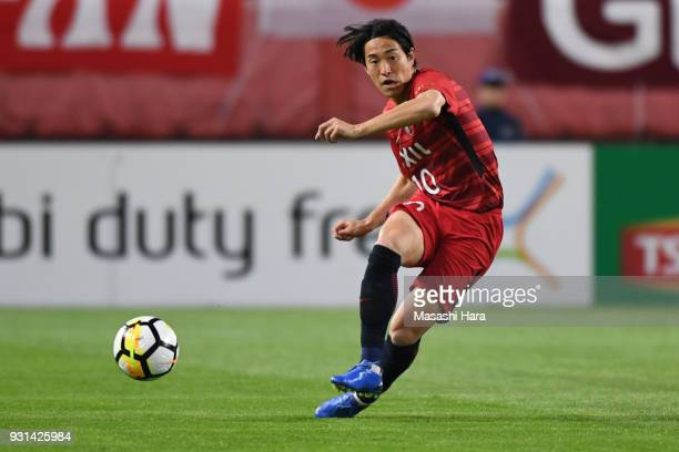 Mu Kanazaki of Kashima Antlers in action during the AFC Champions League Group H match between Kashima Antlers and Sydney FC at Kashima Soccer...