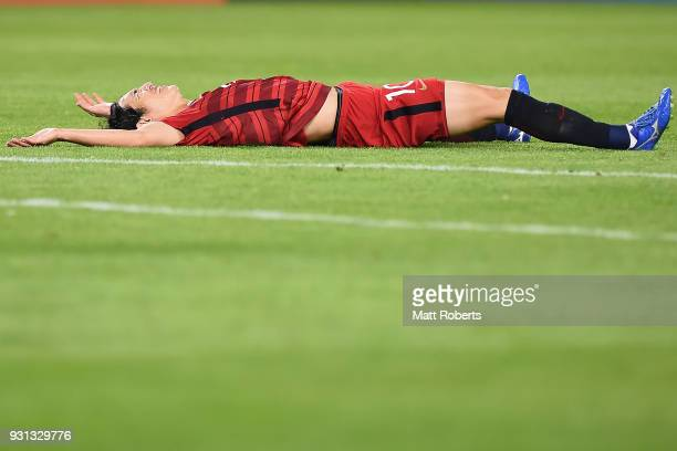Mu Kanazaki of Kashima Antlers lays on the field after missing a shot at goal during the AFC Champions League Group H match between Kashima Antlers...
